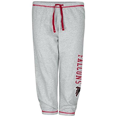 NFL Atlanta Falcons Women Lt Weight Fleece Pant W/Topstitch Trim Outside Ds W/M Logo Down Leg, Heathergrey, 1X