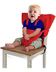 Baby Portable High Chair Seats Cover Safety Harness Toddler Foldable Safety Sack Belt, Red