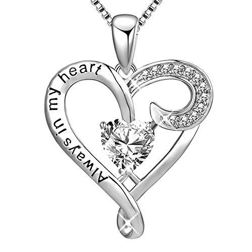 MUATOGIML 925 Sterling Silver Always in My Heart Love Heart Pendant Necklace Women Girls Jewelry Gifts ()