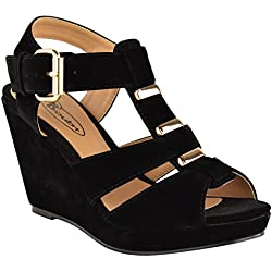Fashion Thirsty Womens Low Mid High Heel Strappy Wedges Peep Toe Sandals Shoes Size 9