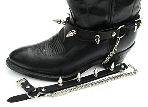 """Western Boots Boot Chains Black Topgrain Cowhide Leather W Big 1"""" Spikes"""