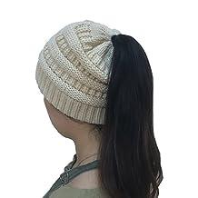 Messy Bun Beanie Hat Ponytail Hat Crochet Pony Beanie Hat Knit Winter Hat Women