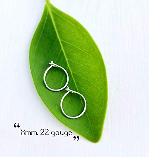 Extra Small Thin 8mm Tiny Sterling Silver Hoop Earrings for Cartilage, 22 Gauge (Hoop Sterling Earrings Small)