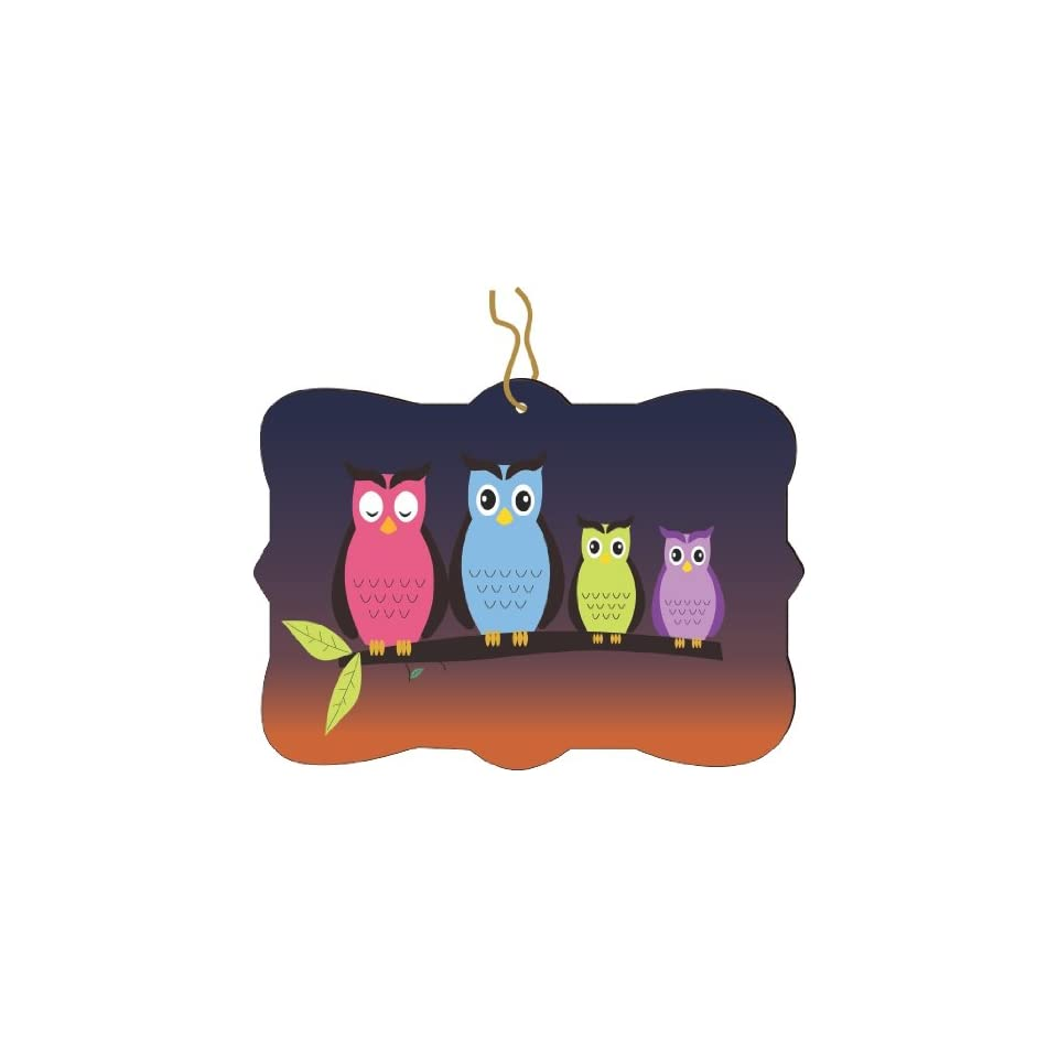 Rikki Knight RKWS SQORN 524 Christmas Tree Ornament / Car Rear View Mirror Hanger Night Owls Design