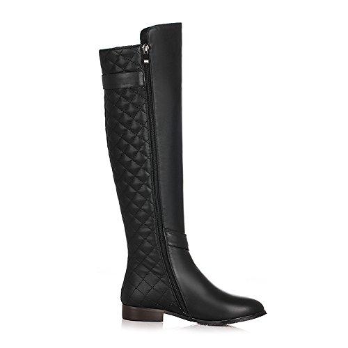 Genuine Buckle Black Seven Handmade Zipper Nine High Boots Round Women's Toe Knee Chunky Leather Casual Heel 5p44awq