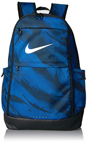 NIKE Brasilia All Over Print Backpack, Gym Blue/Black/White, X-Large - Nike College Bags