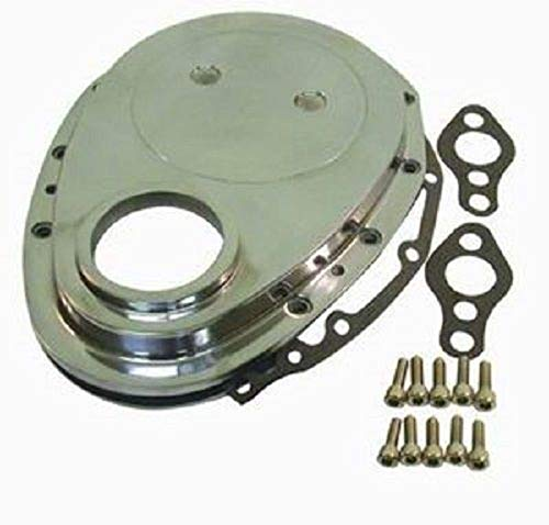 V8 Chevy Timing (Pirate Mfg Polished Aluminum SBC Chevy V8 Timing Chain Cover Kit)