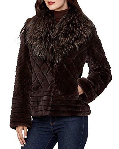 frr Sheared Beaver Jacket with Silver Fox Fur Collar