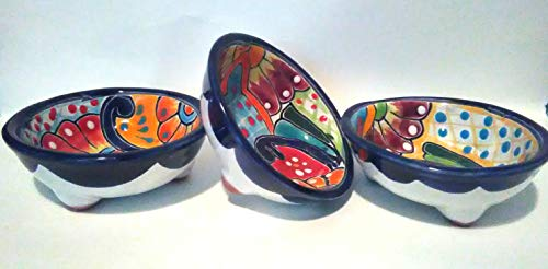 3 Handmade Mexican Talavera Salsa Dishes for Daily Use (Set of 3 for Mild & Hot Salsa & Guacamole) by Guanajuato_Gardens