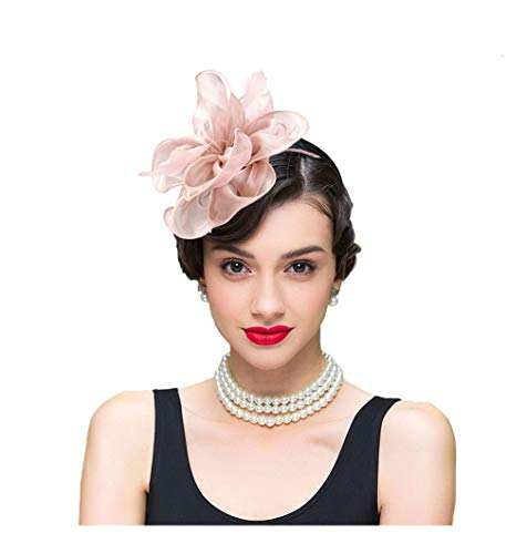 Fascinator Hat For Women Feather silk Flower Headband Retro Hair Accessories Handmade Hairband Church Derby Hats Elegant Ladies Hat For Ascot Cocktail Wedding Party Separable Slip Headband Pink -
