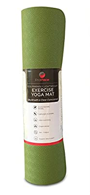 Fitness Mat for Yoga Exercise Pilates Workout from ProPace. Environmentally Eco Friendly Nontoxic TPE provide High Traction Balance and Comfortable Cushioned Support. Stay Fit with a Clear Conscience!