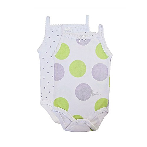 Undershirt Baby Cotton (Feathers Baby Girls Polkadot Print 100% Cotton Super Soft Camisole Onesies 2-Pack,9-Months,Polkadot)