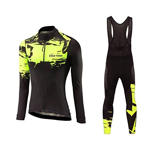 Uglyfrog Women's Cycling Jersey Suit Long Sleeve Mountain Bike Road Bicycle Shirt+ Long Bib Tights Padded Biking Jakcet Outfit Set Sports Wear National Flag Stripe Designs