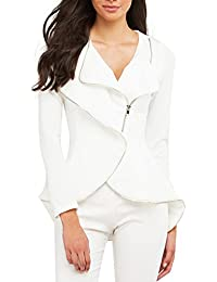 Womens Chic Asymmetric Peplum Slim Zipper Jacket Blazer