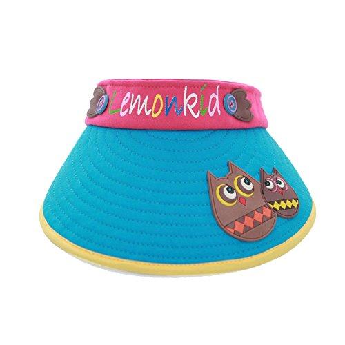 Kids Velcro Summer Sun Visor Hat with Animal stitching, Blue (Animal Visor Hat)