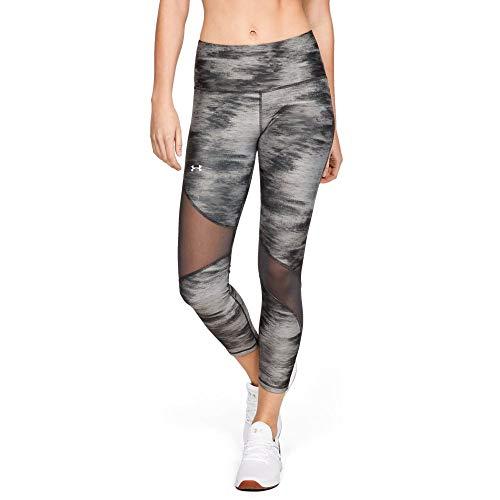 Under Armour Women's HeatGear Armour Ankle Crop Print Leggings, Jet Gray (010)/Metallic Silver, Medium