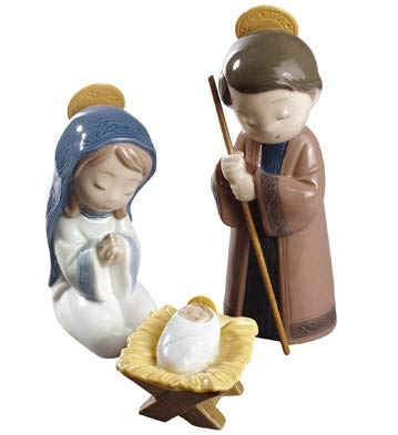 Nao by Lladro Collectible Porcelain Figurine: Miniature NATIVITY set w/ Mary, Joseph, and Baby ()