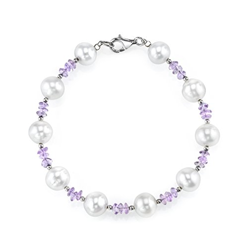 THE PEARL SOURCE 8-9mm Genuine White Freshwater Cultured Pearl & Amethyst Bracelet for Women ()