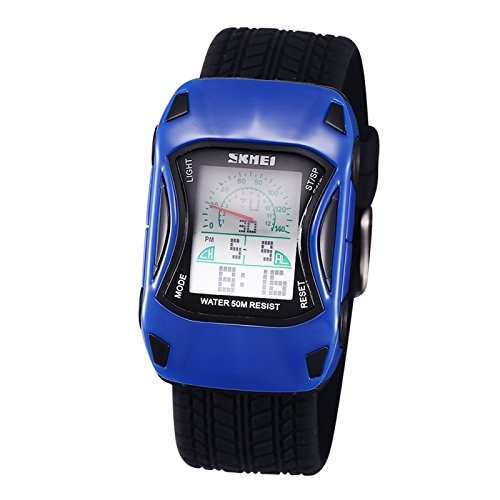 ... Cool coche forma reloj 5 ATM impermeable reloj de pulsera digital con banda y cronómetro y retroiluminación y funciones de anuncios: Amazon.es: Relojes