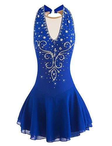 Skating Queen Figure Skating Dress for Girls Women Ice Skating Performance Competition Dress Breathable Mesh Quick Dry High Elastic Handmade Skating Dress Sleeveless Aquamarine Blue, M