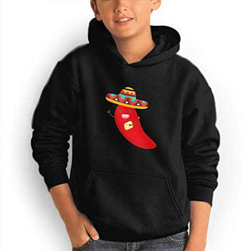 Youth Hoodies Cinco De Mayo Pepper Ggirl%Boy Sweatshirts Pullover with Pocket Black 32 by Shenhuakal