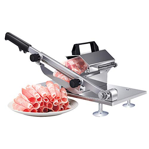 Manual Frozen Meat Slicer, befen Stainless Steel Meat Cutter Beef Mutton Roll Meat Food Slicer Slicing Machine for Home Cooking Kit of Hot Pot Shabu Shabu (Blade Sharpener For Chefs Choice Food Slicers)