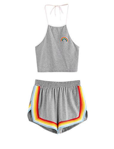 Womens 2 Piece Set (SweatyRocks Women's 2 Piece Set Halter Crop Top and Shorts Set Grey XXL)