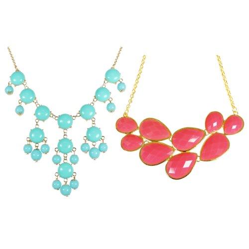 (Wrapables Pink Drop Shape Bubble Statement Necklaces + Sky Blue Mini Bubble Bib Statement Necklace)