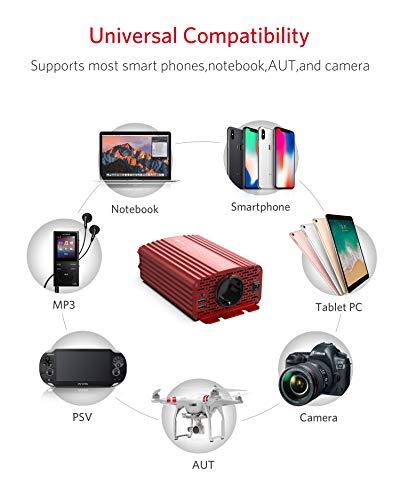 41Po4%2BLQ5pL Wechselrichter 500W Reiner Sinus/Spannungswandler 12v 230v mit 4.2A Dual Smart USB-Anschlüsse Adapter Netzteil Kfz…