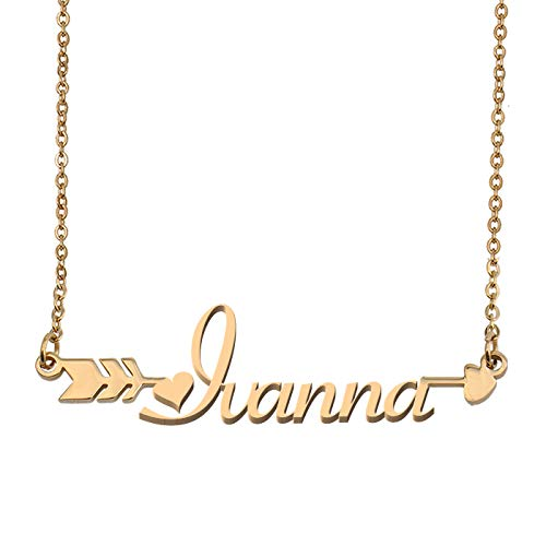 Aoloshow Customized Custom Name Necklace Personalized - Custom Ivanna Initial Name Arrow Horizontal Monogrammed Necklace Gift for Womens - Pendant Sport Turquoise