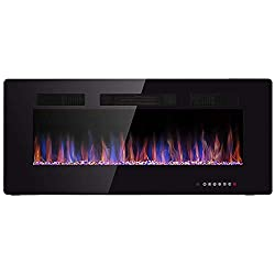 JAMFLY Electric Fireplace, Wall mounted & Recessed & Freestanding Heater, Touch Screen & Remote Control,12Changeable Flame Color Fireplace?750/1500w(120 Volt),Black from JAMFLY