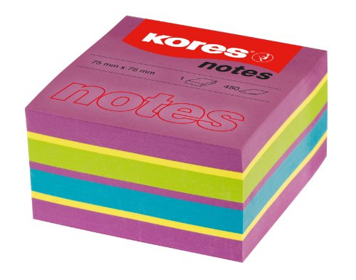 Kores Sticky Notes Cube Spring, 4 Neon Colours, 75 x 75 mm, 1 Cube of 450 - Adhesive Non Cubes Paper