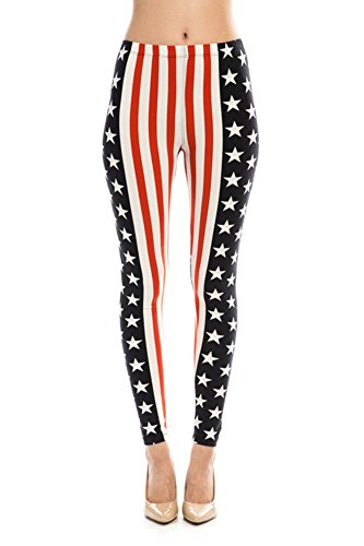 American Flag Patriotic Leggings Stars Stripes Pants (One Size, Vertical Stripes)
