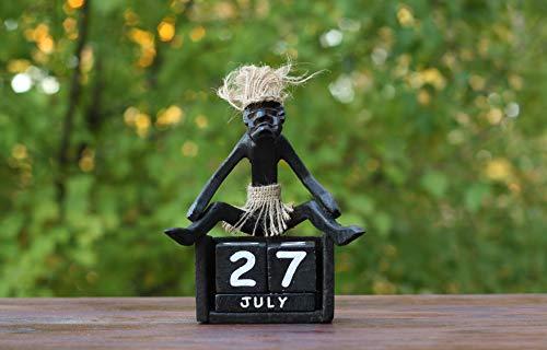 G6 Collection Handmade Wooden Primitive Tribal Statue Calendar Removable Blocks Sculpture Tiki Bar Handcrafted Unique Gift Decorative Decor Accent Figurine Decoration Hand Carved Primitive Calendar