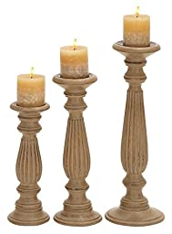 Deco 79 Candle Stands Wood Candle Holder, 18 by 15 by 12-Inch, Brown, Set of 3