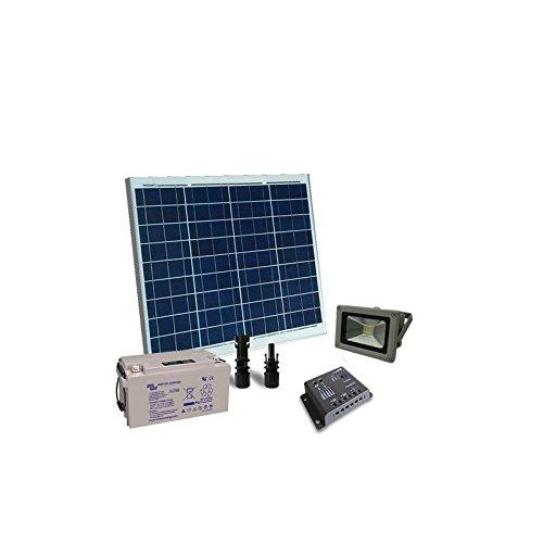 PuntoEnergia Italia - Kit éclairage solaire 50W 12V extérieur Phare LED photovoltaïque batterie 22Ah - KIE-50-B22