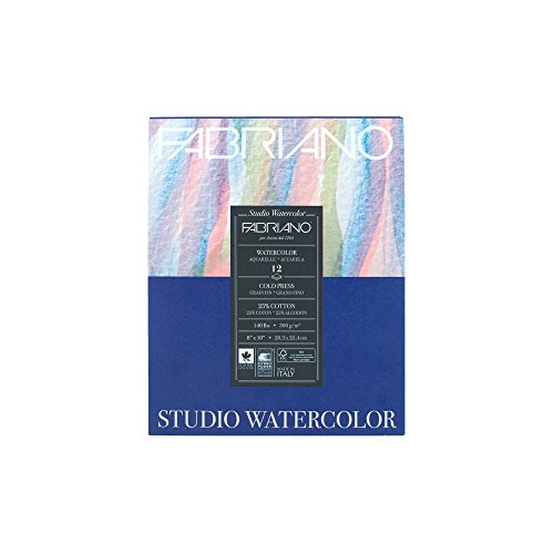 Fabriano 91230020 Tape Binding Acid-Free Cold Press Studio Watercolor Pad, 12 Sheets, 140 Pound, 8
