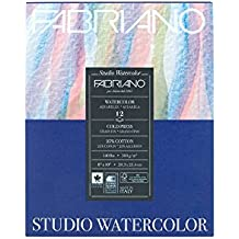 "Fabriano 91230020 Tape Binding Acid-Free Cold Press Studio Watercolor Pad, 12 Sheets, 140 Pound, 8""x10"""