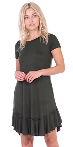 - Popana Women's Casual Short Sleeve Knee Length Summer Midi Dress Made in USA - Olive Small