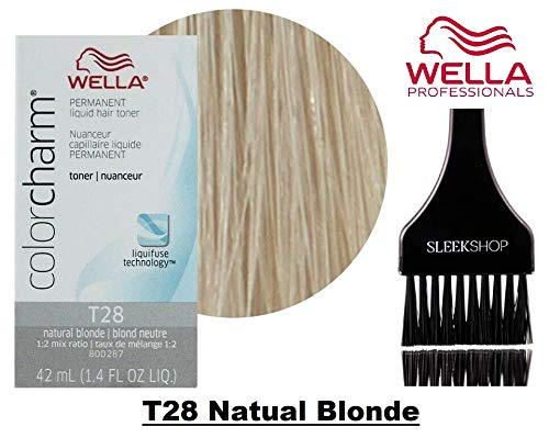 Wella COLOR CHARM Permanent LIQUID HAIR TONER (w/Sleek Tint Brush) Haircolor Liquifuse, 1:2 Mix Ratio Hair Color (T28 Natual Blonde)