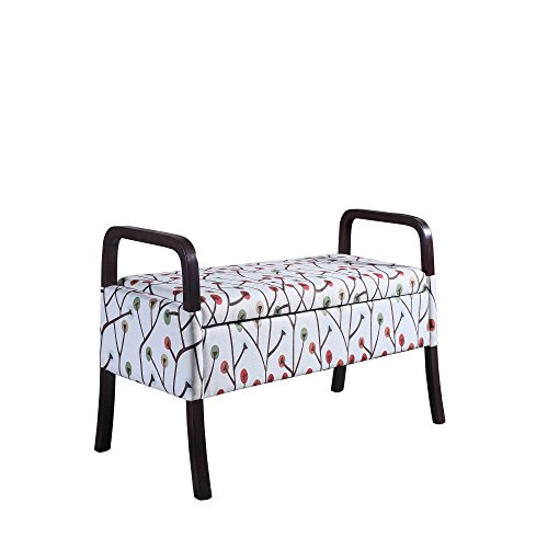 (Cherry Blossom Arm Storage Bench Made of Upholstered/Wood in Red/Brown/White Finish 43.25