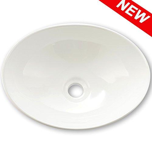 Oval Porcelain Sink (VAPSINT Bathroom Ellipse Porcelain White Ceramic Above Counter Bathroom Vessel Sink Art Basin)