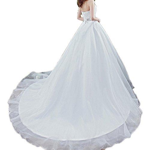 Shushaliying Women's Strapless V-Neck Mother of The Bride Dress A-Line Floor Length Matte Satin Lace up Wedding Dress White,18 ()