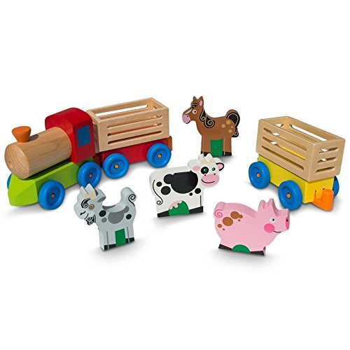 - Aodicon 4 Farm Animals on Wooden Train with 2 Cars Toy Set,Wooden Toy Wooden Train for Transport Farm Animals