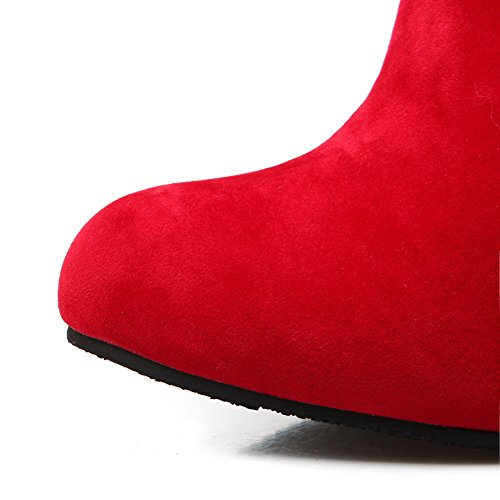 Heels Cone BalaMasa Boots Fashion Solid Heel Shape Red Ladies Frosted Chunky n7qXqwpU