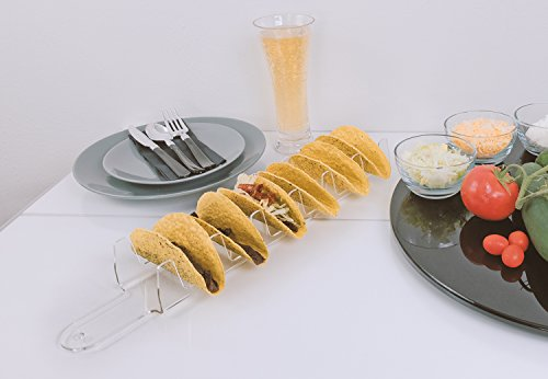 Source One Deluxe Taco Holder Stand Clear Sleek Acrylic Holds 6 Tacos (6 Pack, Clear) by SOURCEONE.ORG (Image #6)