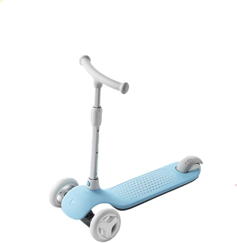 XUEYING-KickScooter Scooter para niños Scooter de Tres Ruedas Plegable Portátil Flash Wheel Juguete de Ocho Caracteres Desmontable (Color : Azul)
