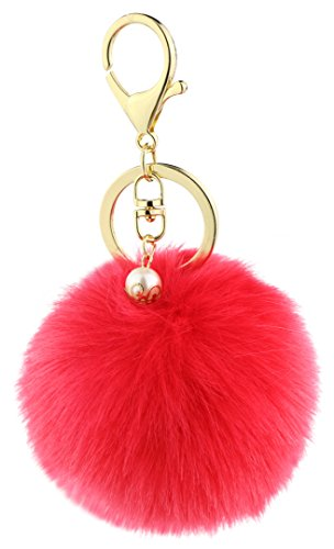 Key Chain Accessories for Women - Red Faux Fur Ball Charm and Artificial Pearl with Key Ring