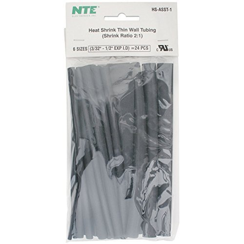 NTE Electronics HS-ASST-1 Thin Wall Heat Shrink Tubing Kit, Black, Assorted Dia., 6