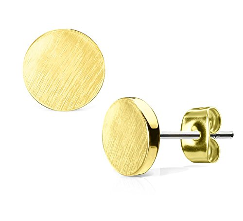 (Circle-Shaped Gold Tone Surgical Steel Brushed Finish Stud Earrings )